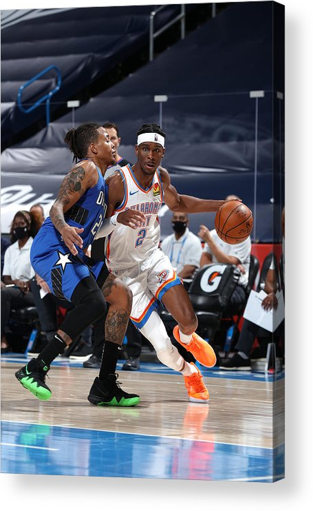 Nba Pro Basketball Acrylic Print featuring the photograph Orlando Magic v Oklahoma City Thunder by Zach Beeker
