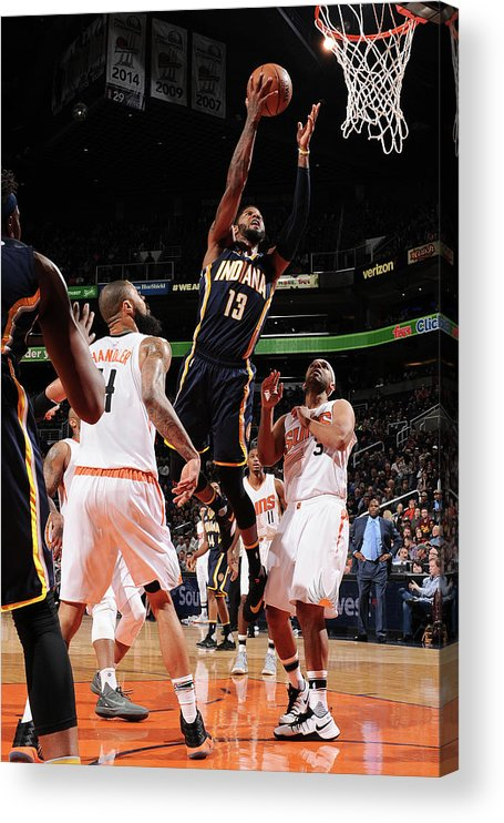 Nba Pro Basketball Acrylic Print featuring the photograph Paul George by Barry Gossage