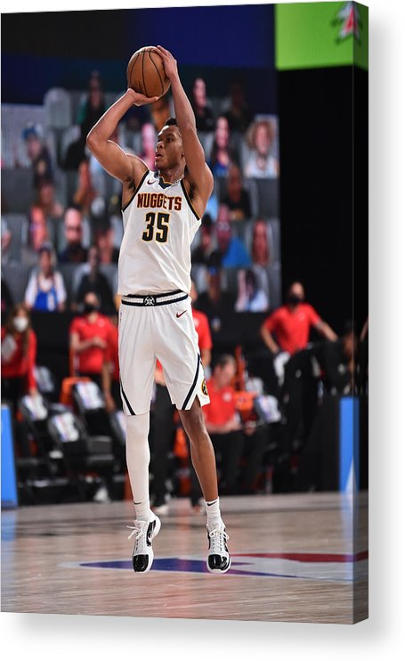 Nba Pro Basketball Acrylic Print featuring the photograph Portland Trail Blazers v Denver Nuggets by David Dow