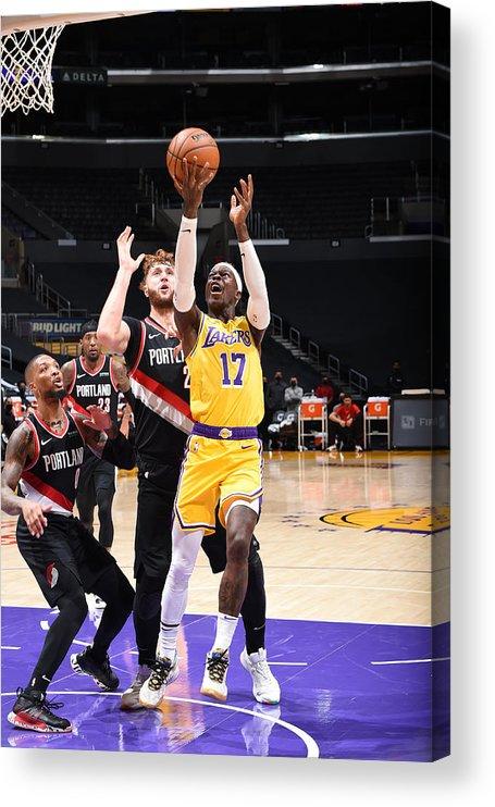 Nba Pro Basketball Acrylic Print featuring the photograph Portland Trail Blazers v LA Lakers by Adam Pantozzi