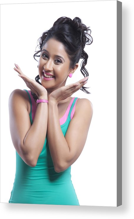 People Acrylic Print featuring the photograph Portrait of young woman smiling by IndiaPix/IndiaPicture