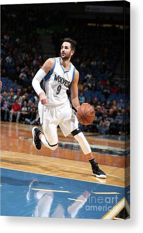 Nba Pro Basketball Acrylic Print featuring the photograph Ricky Rubio by David Sherman
