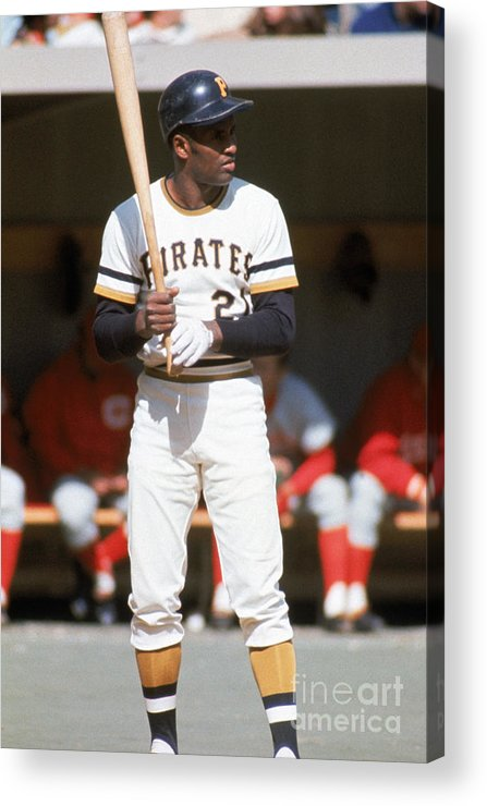 Sports Bat Acrylic Print featuring the photograph Roberto Clemente by Mlb Photos