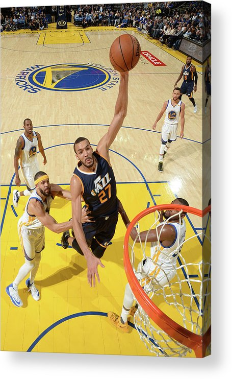 Nba Pro Basketball Acrylic Print featuring the photograph Rudy Gobert by Noah Graham