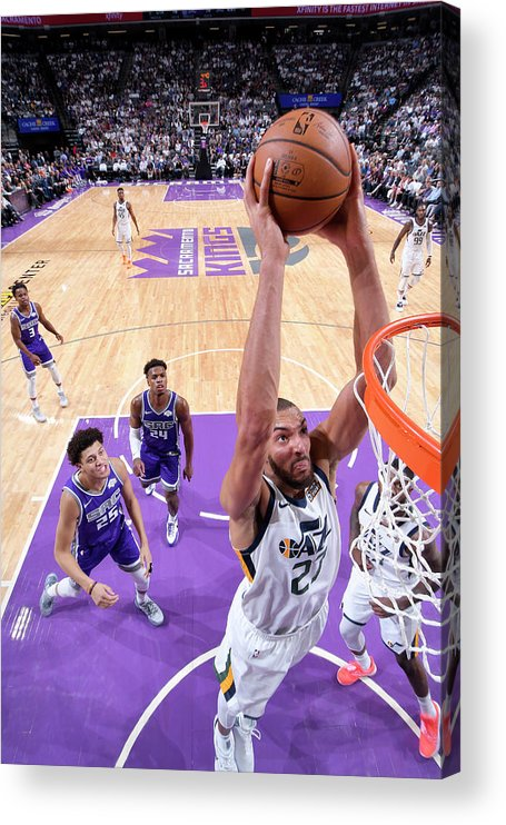 Nba Pro Basketball Acrylic Print featuring the photograph Rudy Gobert by Rocky Widner