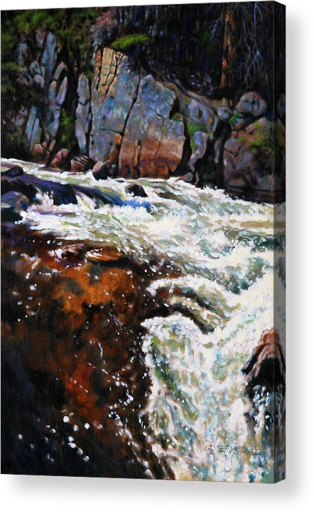 Mountain Stream Acrylic Print featuring the painting Rushing Waters Colorado by John Lautermilch