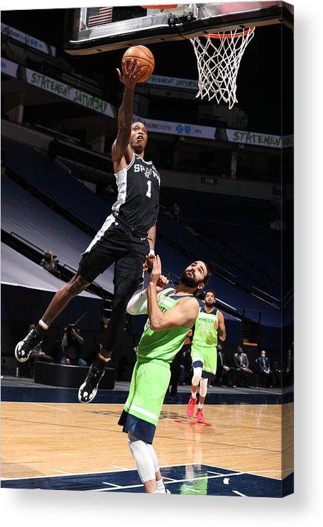 Nba Pro Basketball Acrylic Print featuring the photograph San Antonio Spurs v Minnesota Timberwolves by David Sherman
