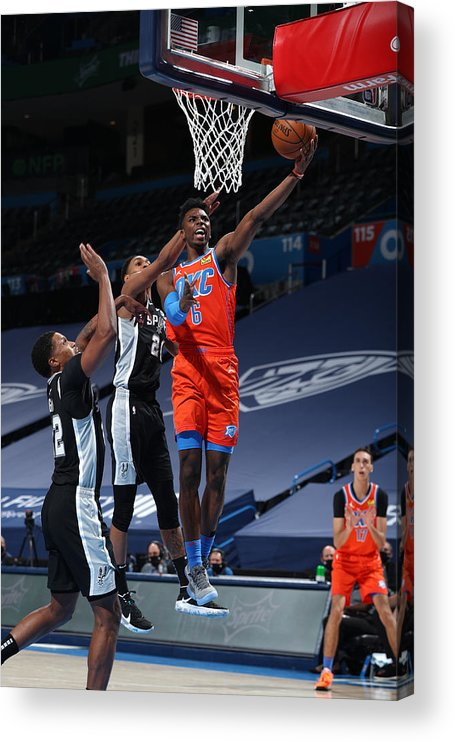 Nba Pro Basketball Acrylic Print featuring the photograph San Antonio Spurs v Oklahoma City Thunder by Zach Beeker