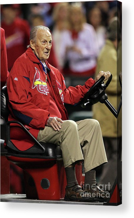 St. Louis Cardinals Acrylic Print featuring the photograph Stan Musial by Ezra Shaw