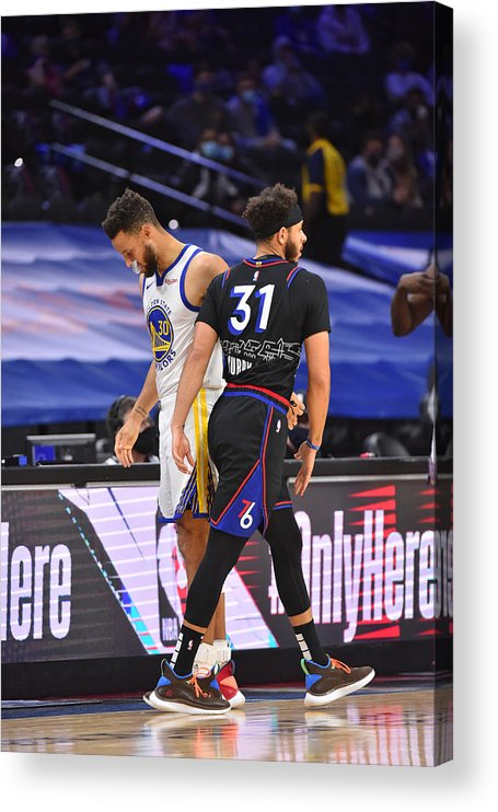 Nba Pro Basketball Acrylic Print featuring the photograph Stephen Curry and Seth Curry by Jesse D. Garrabrant