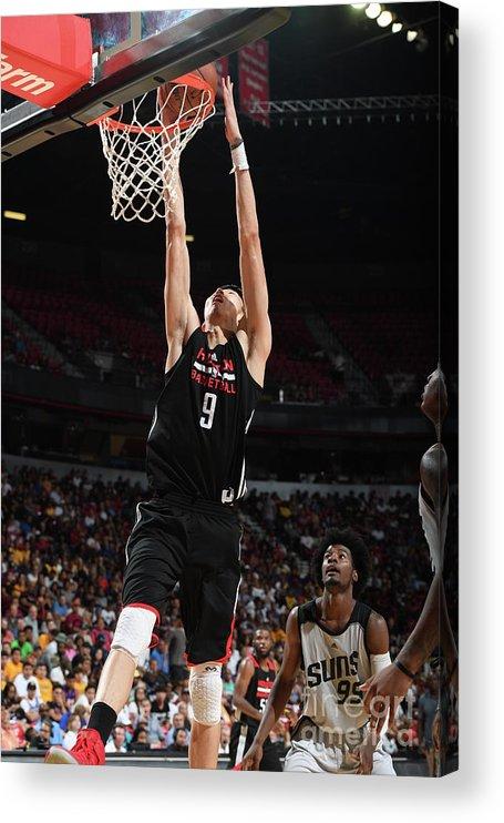 Nba Pro Basketball Acrylic Print featuring the photograph Zhou Qi by Garrett Ellwood