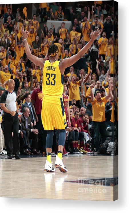 Playoffs Acrylic Print featuring the photograph Myles Turner by Ron Hoskins