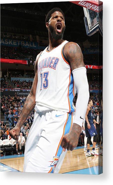 Nba Pro Basketball Acrylic Print featuring the photograph Paul George by Layne Murdoch