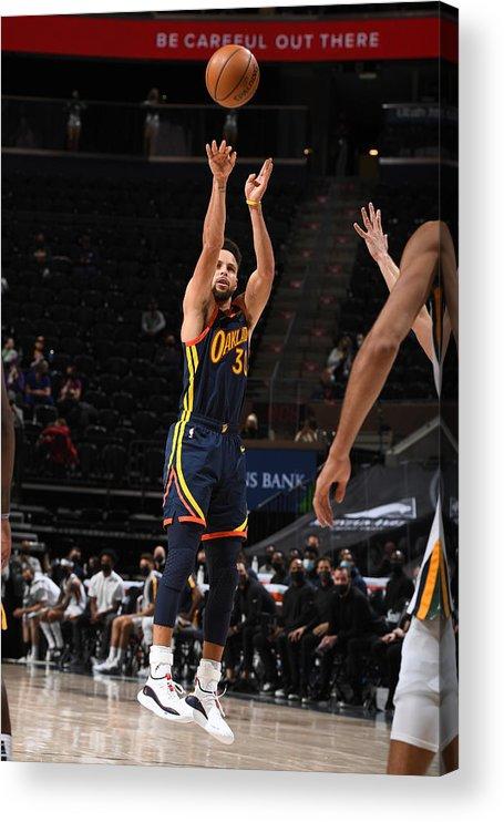 Nba Pro Basketball Acrylic Print featuring the photograph Stephen Curry by Garrett Ellwood