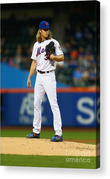 Second Inning Acrylic Print featuring the photograph Noah Syndergaard by Mike Stobe