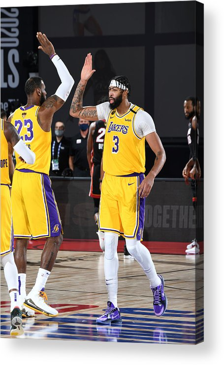 Playoffs Acrylic Print featuring the photograph Anthony Davis and Lebron James by Andrew D. Bernstein