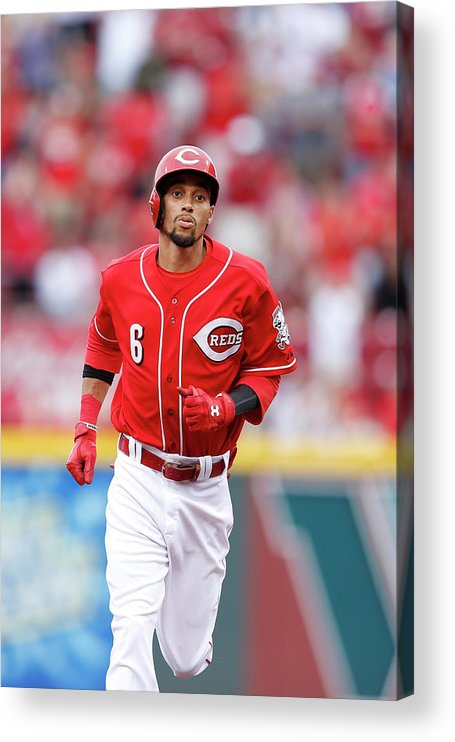 Great American Ball Park Acrylic Print featuring the photograph Billy Hamilton by Joe Robbins