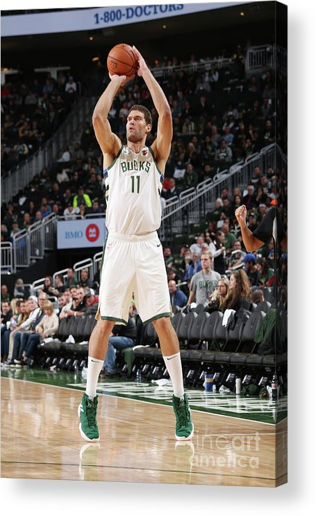 Nba Pro Basketball Acrylic Print featuring the photograph Brook Lopez by Gary Dineen