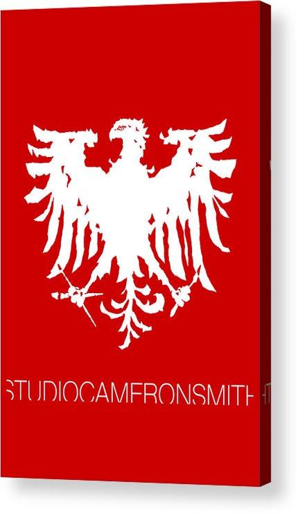 Logo Acrylic Print featuring the digital art Eagle Studio Logo, white, custom background by Cameron Smith