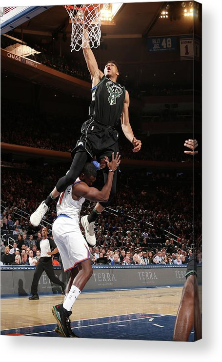 Tim Hardaway Jr. Acrylic Print featuring the photograph Giannis Antetokounmpo by Ned Dishman