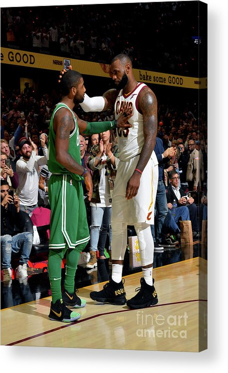 Nba Pro Basketball Acrylic Print featuring the photograph Kyrie Irving and Lebron James by Jesse D. Garrabrant