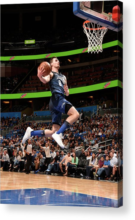 Nba Pro Basketball Acrylic Print featuring the photograph Mario Hezonja by Gary Bassing