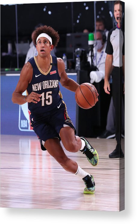 Nba Pro Basketball Acrylic Print featuring the photograph New Orleans Pelicans v Brooklyn Nets by Joe Murphy