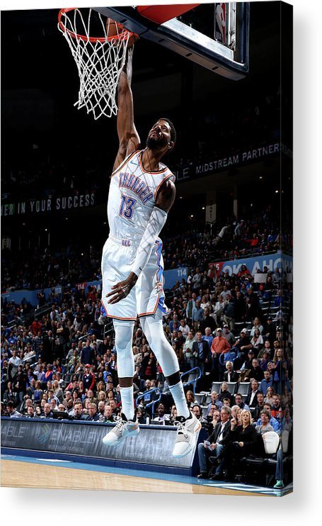 Nba Pro Basketball Acrylic Print featuring the photograph Paul George by Zach Beeker