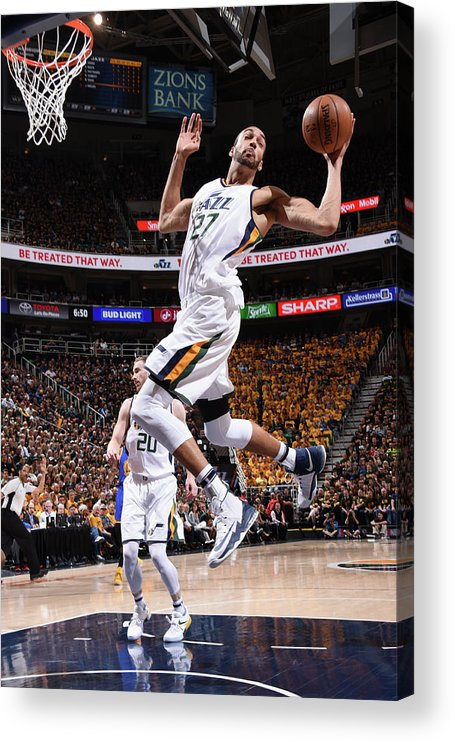 Playoffs Acrylic Print featuring the photograph Rudy Gobert by Andrew D. Bernstein