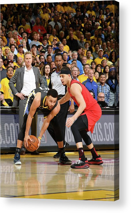 Playoffs Acrylic Print featuring the photograph Stephen Curry and Seth Curry by Noah Graham