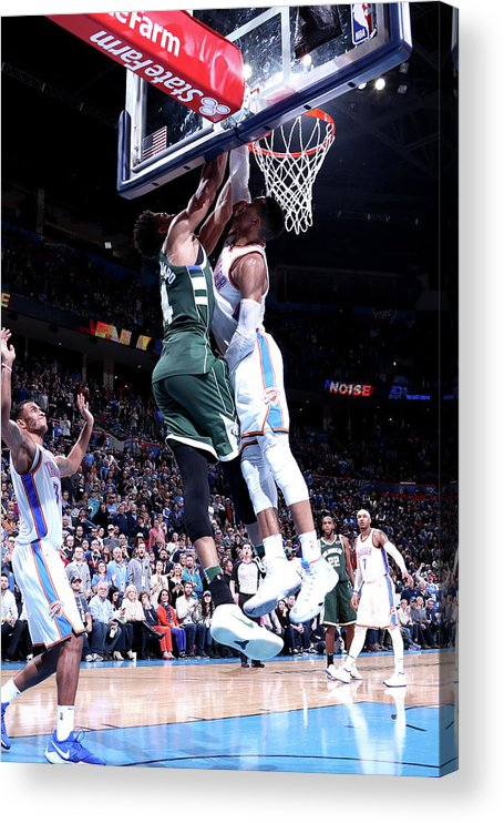 Nba Pro Basketball Acrylic Print featuring the photograph Giannis Antetokounmpo by Nathaniel S. Butler