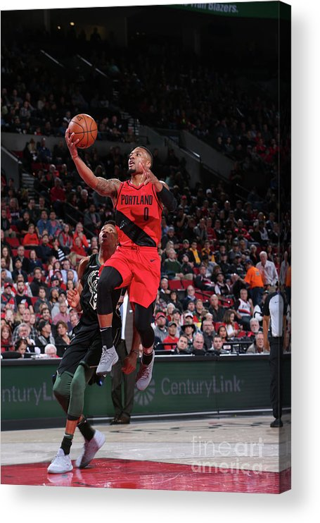 Nba Pro Basketball Acrylic Print featuring the photograph Damian Lillard by Sam Forencich