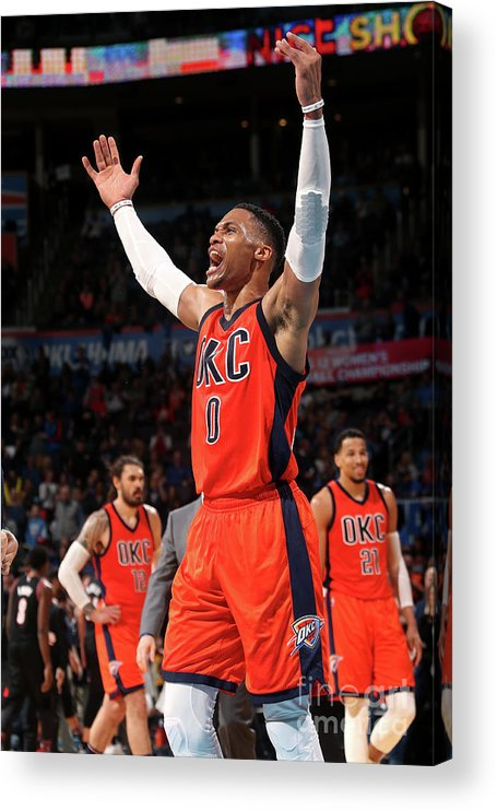 Crowd Acrylic Print featuring the photograph Russell Westbrook by Layne Murdoch
