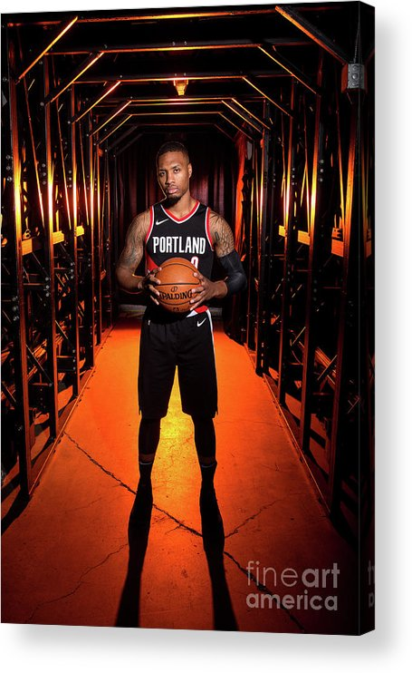 Media Day Acrylic Print featuring the photograph Damian Lillard by Sam Forencich