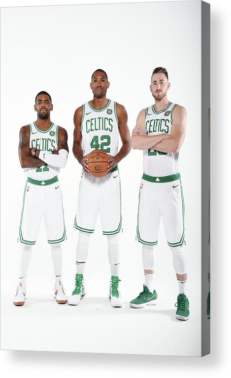 Media Day Acrylic Print featuring the photograph Al Horford, Kyrie Irving, and Gordon Hayward by Brian Babineau