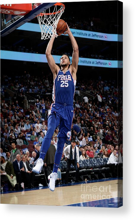 Nba Pro Basketball Acrylic Print featuring the photograph Ben Simmons by David Dow