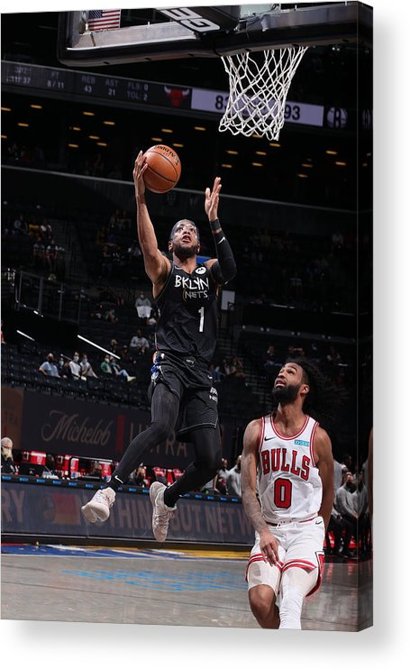 Nba Pro Basketball Acrylic Print featuring the photograph Chicago Bulls v Brooklyn Nets by Nathaniel S. Butler
