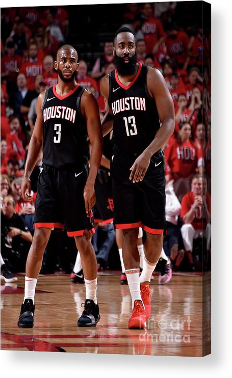 Playoffs Acrylic Print featuring the photograph Chris Paul and James Harden by Bill Baptist