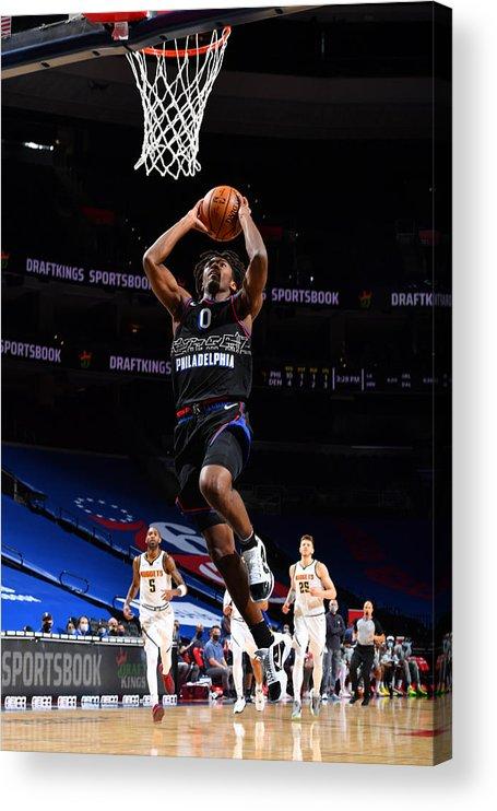 Nba Pro Basketball Acrylic Print featuring the photograph Denver Nuggets v Philadelphia 76ers by Jesse D. Garrabrant