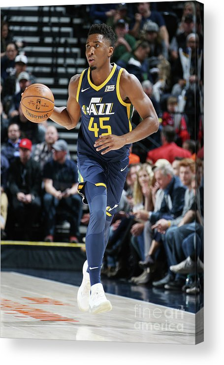 Nba Pro Basketball Acrylic Print featuring the photograph Donovan Mitchell by Melissa Majchrzak