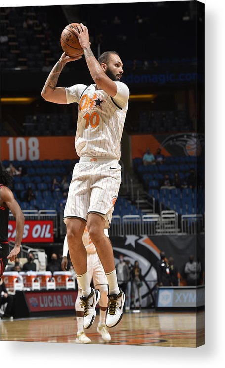 Nba Pro Basketball Acrylic Print featuring the photograph Evan Fournier by Gary Bassing