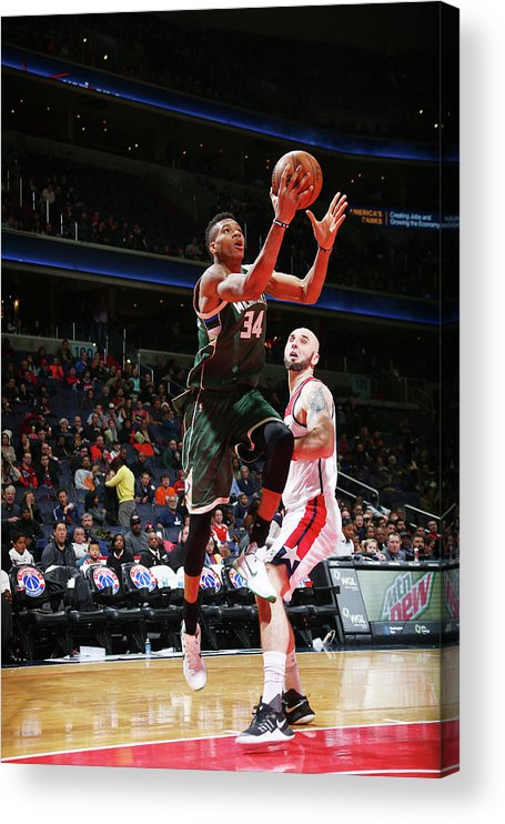 Nba Pro Basketball Acrylic Print featuring the photograph Giannis Antetokounmpo by Ned Dishman