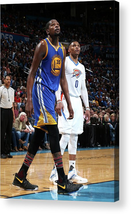 Nba Pro Basketball Acrylic Print featuring the photograph Kevin Durant and Russell Westbrook by Layne Murdoch
