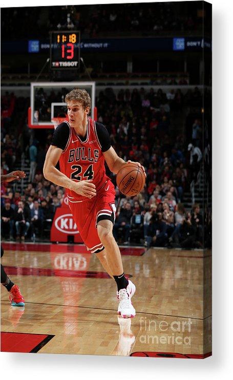 Nba Pro Basketball Acrylic Print featuring the photograph Lauri Markkanen by Gary Dineen