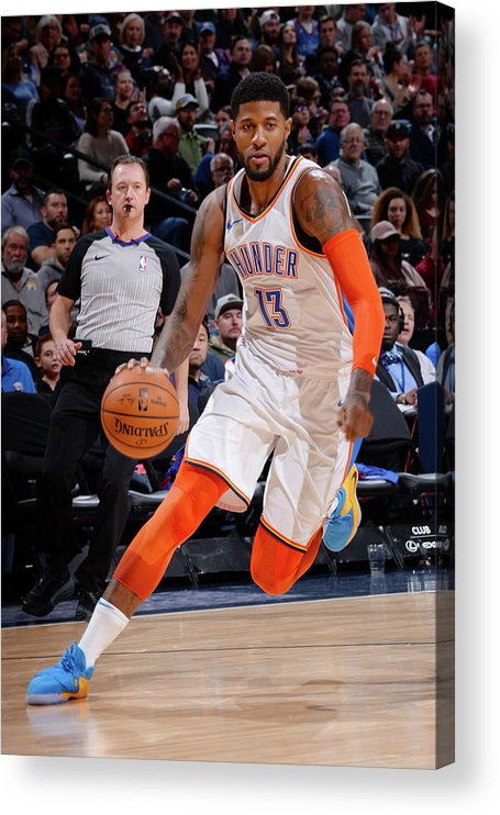 Nba Pro Basketball Acrylic Print featuring the photograph Paul George by Bart Young