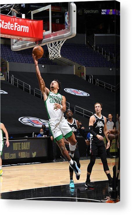 Nba Pro Basketball Acrylic Print featuring the photograph Boston Celtics v LA Clippers by Adam Pantozzi