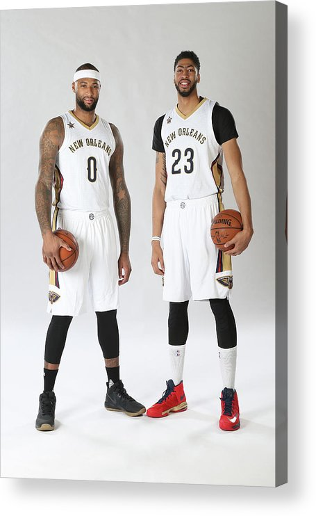 Nba Pro Basketball Acrylic Print featuring the photograph Demarcus Cousins and Anthony Davis by Layne Murdoch