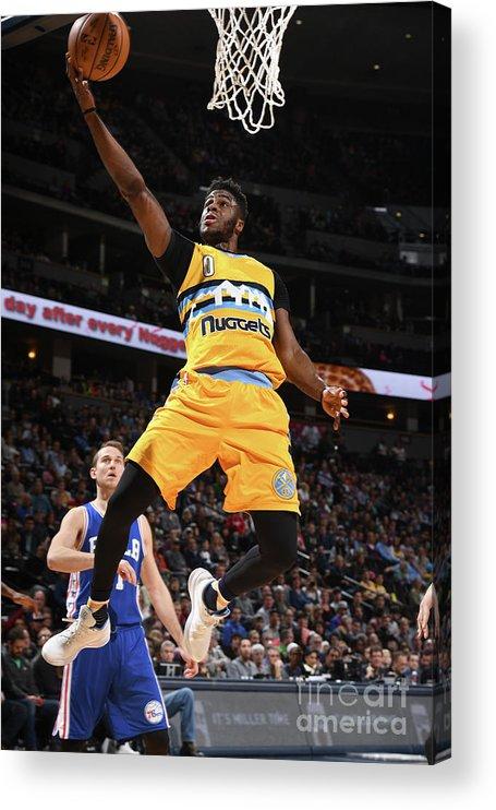 Nba Pro Basketball Acrylic Print featuring the photograph Emmanuel Mudiay by Garrett Ellwood