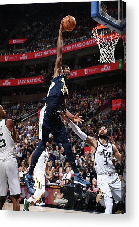 Nba Pro Basketball Acrylic Print featuring the photograph Kenneth Faried by Garrett Ellwood