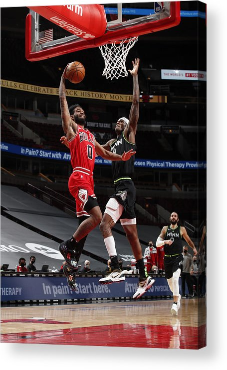 Coby White Acrylic Print featuring the photograph Minnesota Timberwolves v Chicago Bulls by Jeff Haynes